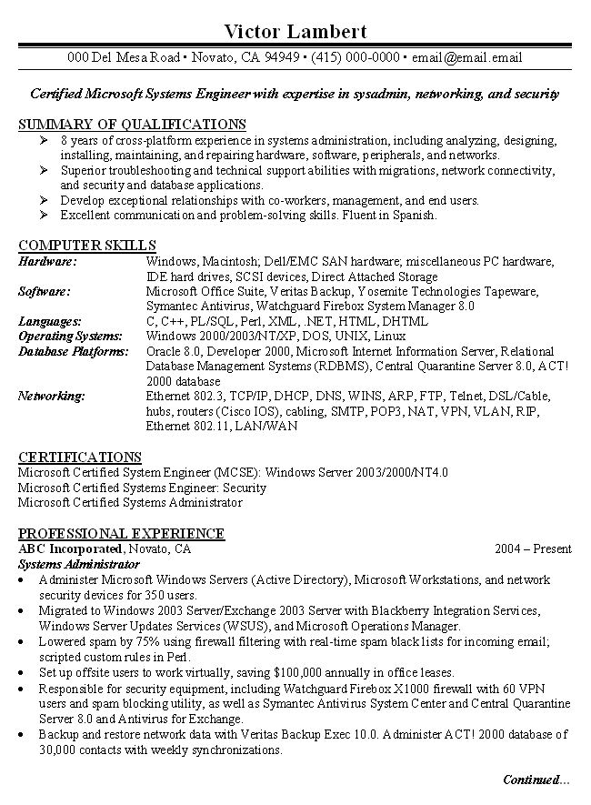 network administrator resumes