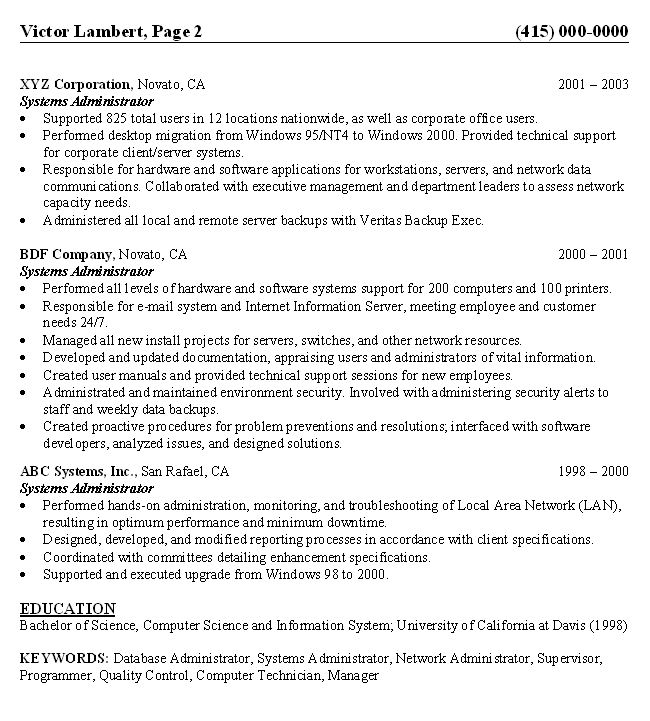 pin systems administrator resume sle top of board